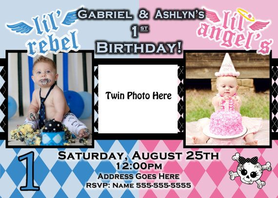 Boy Girl Twin Birthday Theme invite lil angel invite birthday