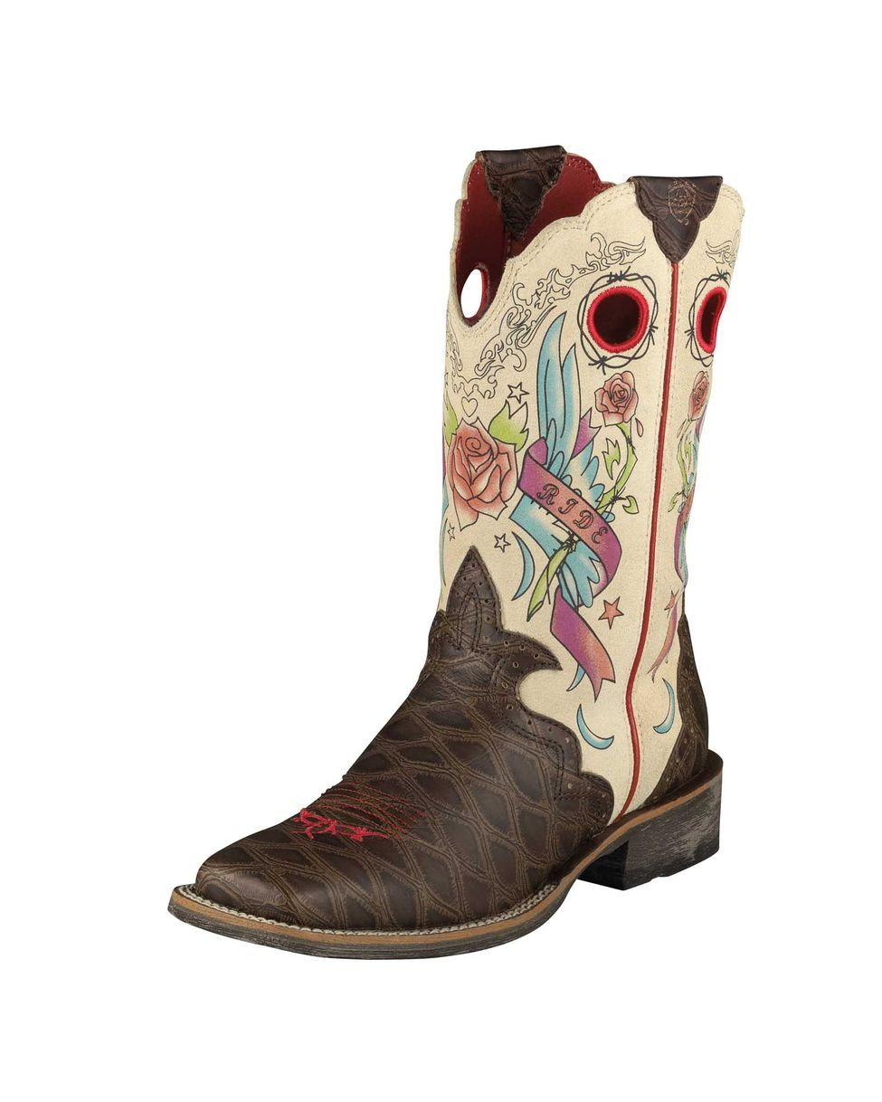 Ariat Women's RodeoBaby Rocker Square Toe Boot - Distressed Brown ...