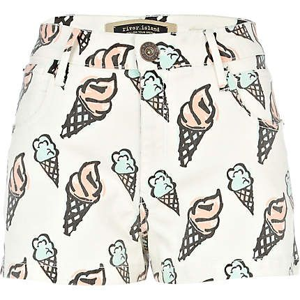 Ice cream cone print denim shorts -  kitschy summer fun