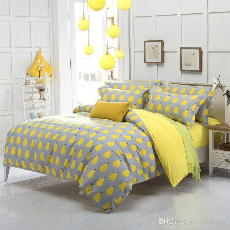 Cute Yellow Pear Fruit Bedding Set Kids Duvet Cover Bed Set Single Double Queen Size Bed Sheets Bed Duvet Bedding Sets Yellow And Gray Bedding Duvet Cover Sale