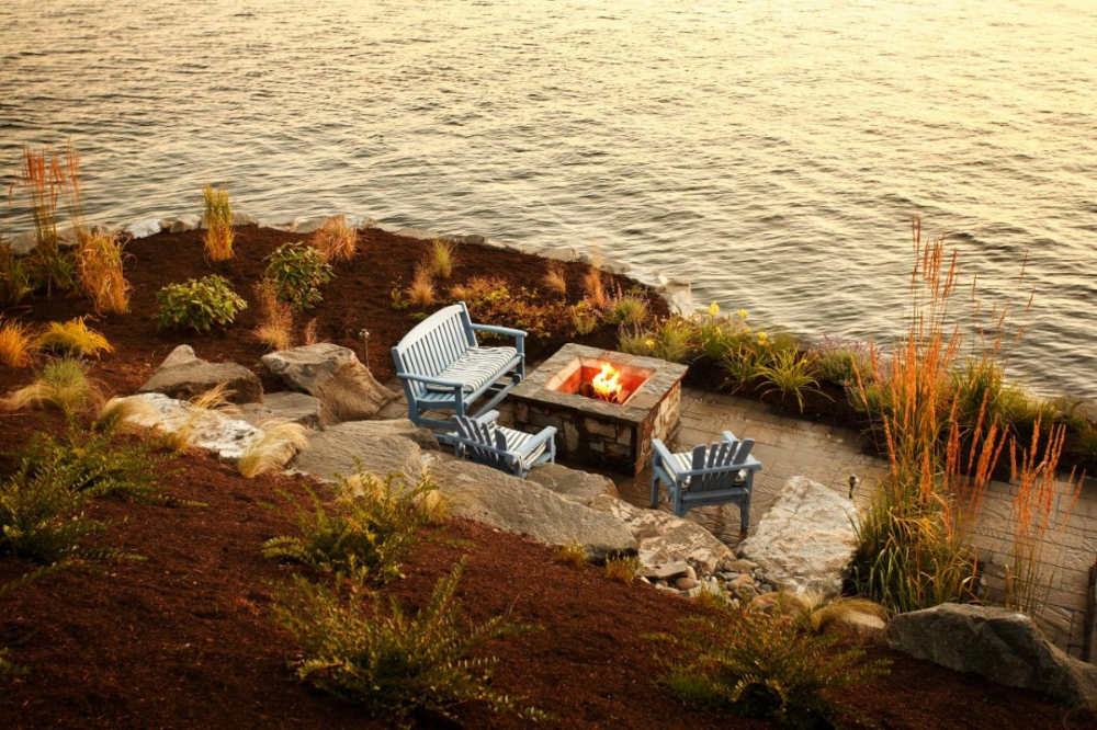 Photo of Magical Outdoor Fire Pit Seating Ideas & Area Designs #stonefirepit #rusticfirep…