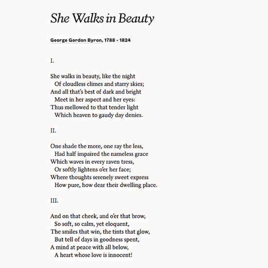 "Share George Gordon Byron's Poem ""She Walks In Beauty"" To"