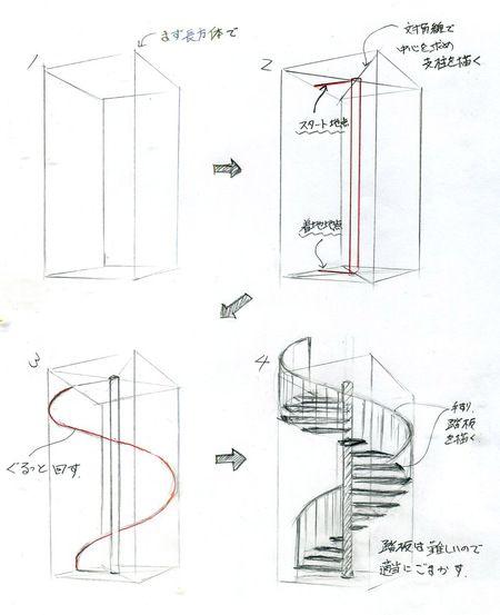 らせん階段の描き方 建築パース 階段 イラスト パース