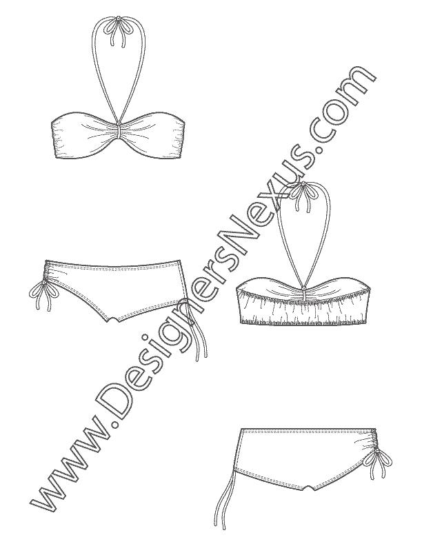 Free Downloads Illustrator Flat Sketches Swimwear Bodysuits Bras Flat Sketches Technical Drawing Fashion Flats