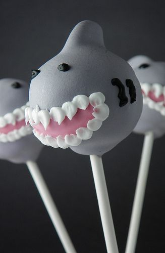 Shark cake pops perfect for any #SJSharks themed party.
