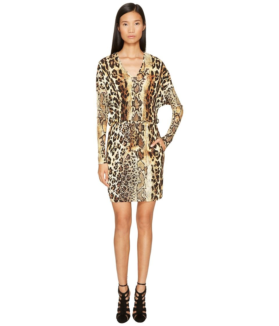 42ba01414c337 Just Cavalli Long Sleeve V-Neck Mixed Animal Print Jersey Dress Women's  Dress Natural