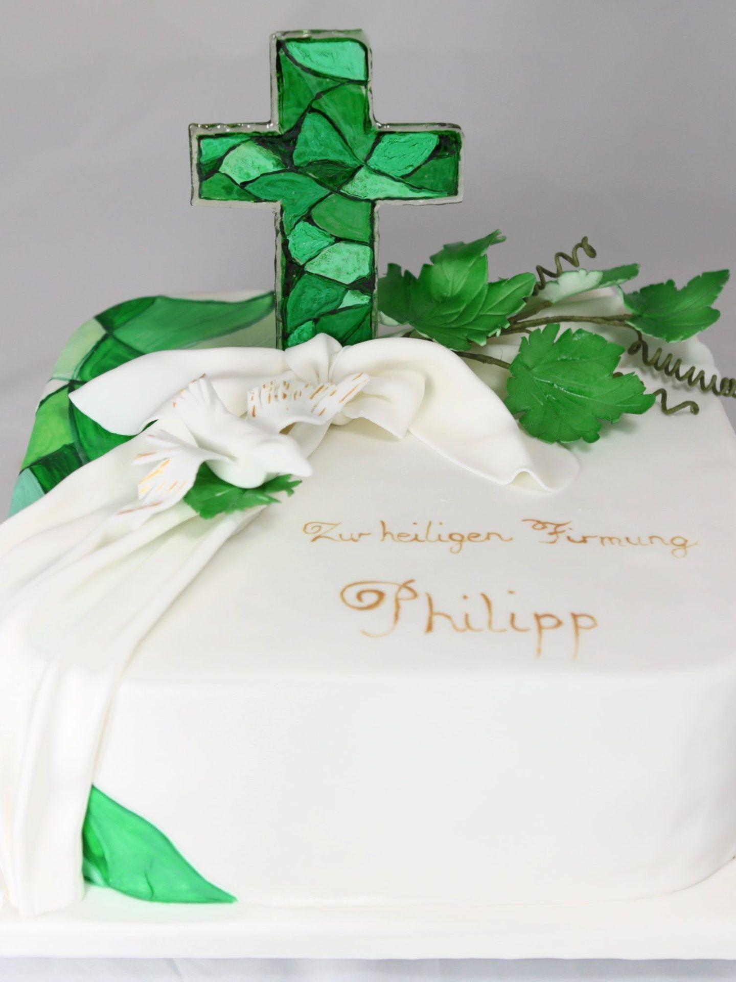 Firmung Confirmation Cake Torte Grn Green Isomalt Wine