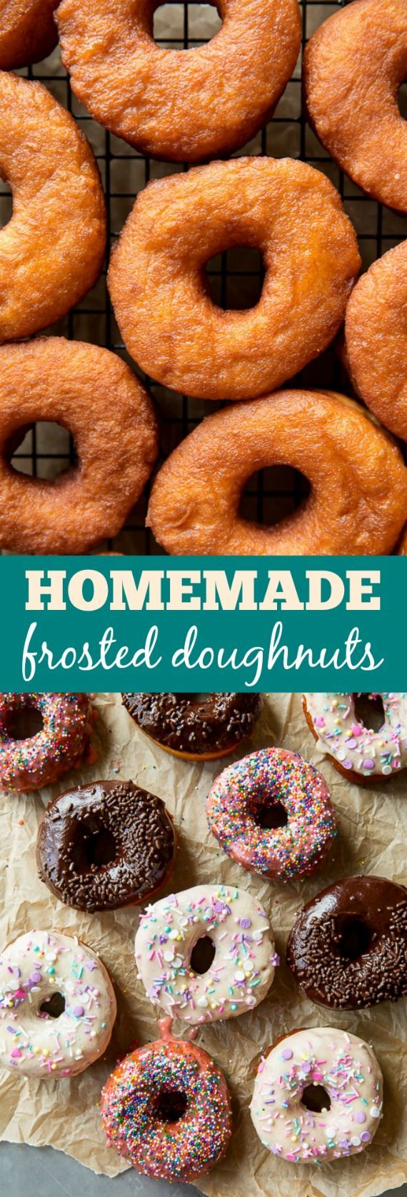 Here's how to make frosted doughnuts from scratch, 3 ways! Vanilla, chocolate and strawberry doughnuts! Recipes on http://sallysbakingaddiction.com