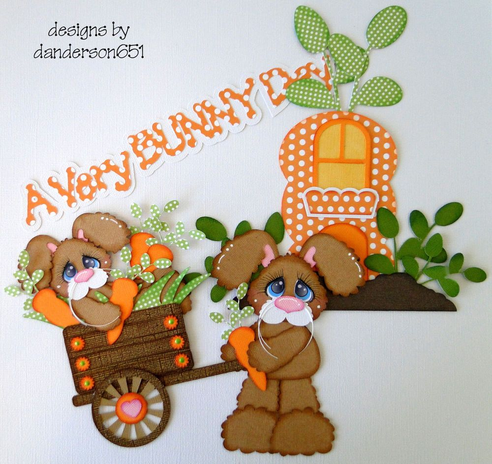 """A Very Bunny Day. Set of Three(3) Come checkout my facebook page. I would love for you to """"like"""" my page.... All my work comes from my smoke-free, pet-free home. Please scroll down and take a look."""