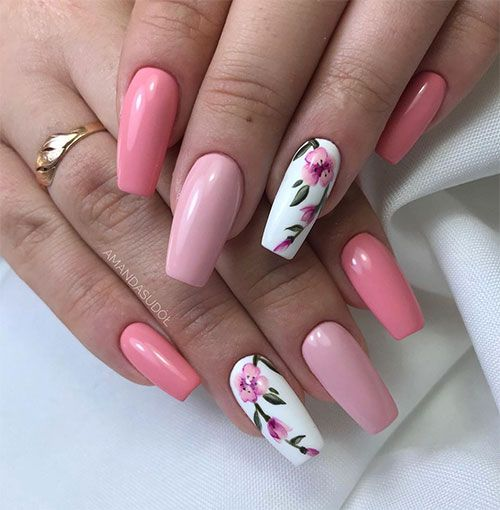 Best Nails Ideas For Spring 2019 Floral Nail Designs Pink Nails