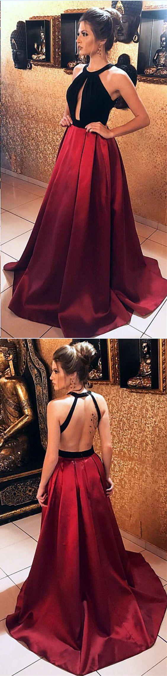 Black velvet halter top satin floor length evening gowns open back