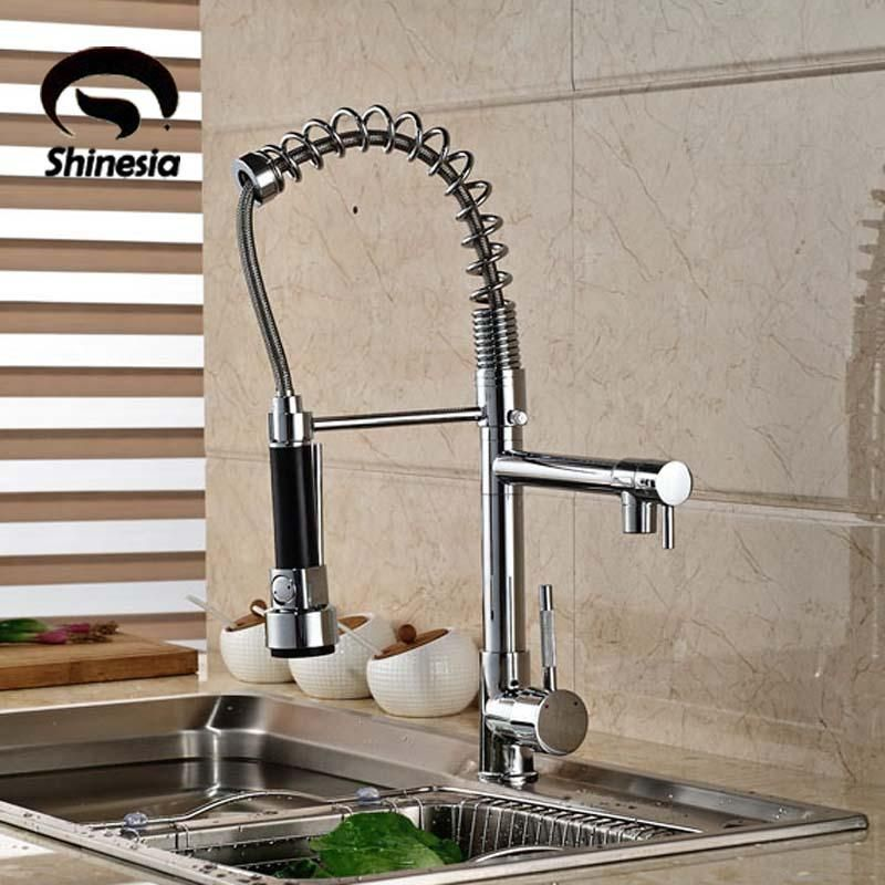 Visit To Buy Good Quality Wholesale And Retail Chrome Finished Pull Out Spring Kitchen Faucet Swivel Spou Kitchen Faucet Sink Mixer Taps Brass Kitchen Faucet