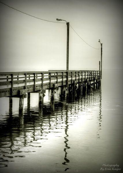 ~Reflections In Silence~ By Ernie Kasper #pier   #dock   #water   #bird   #reflections   #ocean   #whiterock   #canada   #blackandwhitephotography