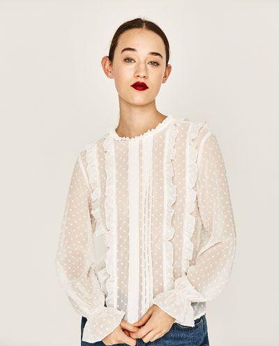 Blusa Plumeti Volantes Ver Todo Camisas Mujer Zara Espana Blusas