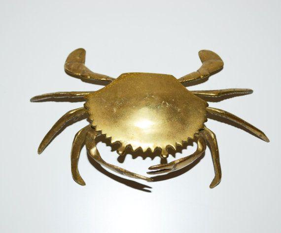 nautical bar decor.htm vintage brass crab ashtray trinket box nautical by judysjunktion  vintage brass crab ashtray trinket box