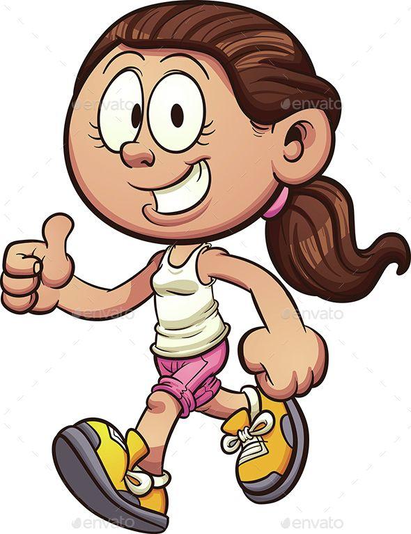 cartoon girl walking vector clip art illustration with simple