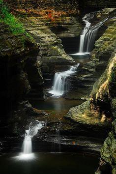 Cascades under Rainbow Falls, Watkins Glen, New York (NY) | by masinka #rainbowfalls
