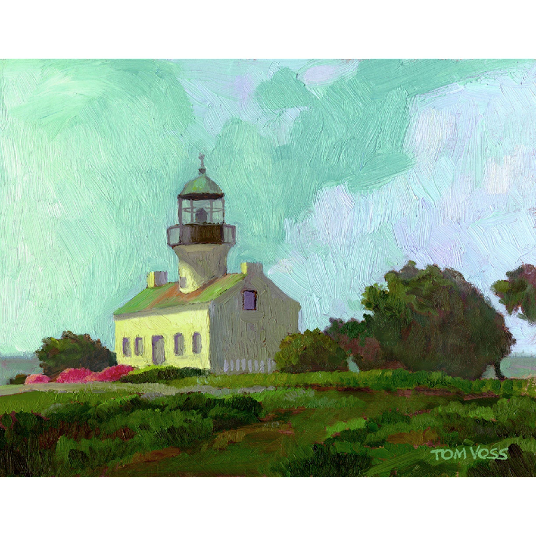 Artist tom voss old lighthouse san diego oil on canvas 8