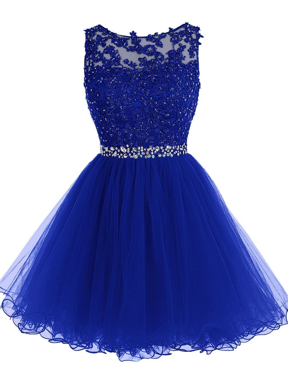 Royal blue keyhole back cocktail dress party dress with lace