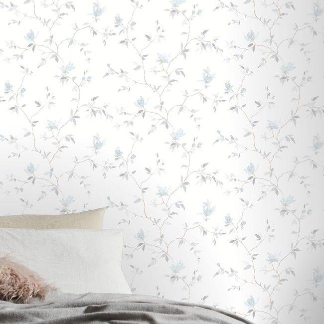 Tapeta Winylowa Na Flizelinie Goodhome Mugga Niebieska Tapety Dekoracyjne Blue Floral Wallpaper Pink Floral Wallpaper Floral Wallpaper