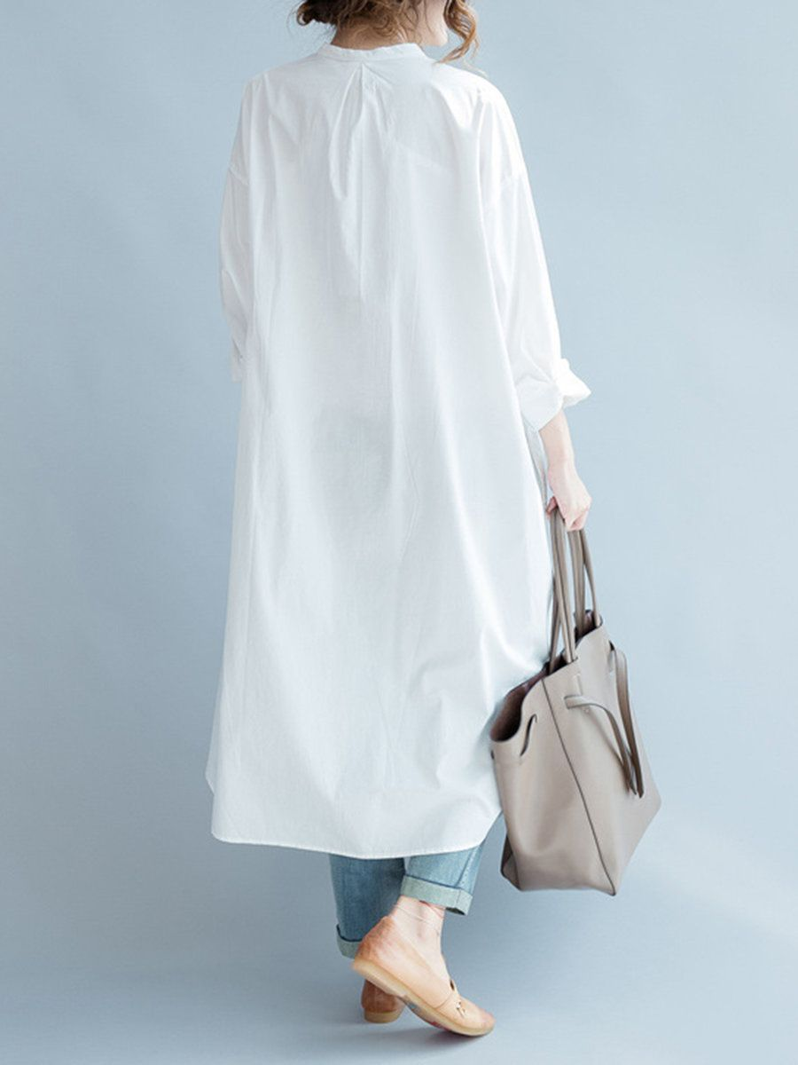 7a4ad3bc5 Amazon.com: Yesno QE2 Women Long Button-Down Shirts Dress Casual Maxi Loose  Hi-Low 100% Cotton, One Size, White: Clothing   style   Outfit ideen, ...
