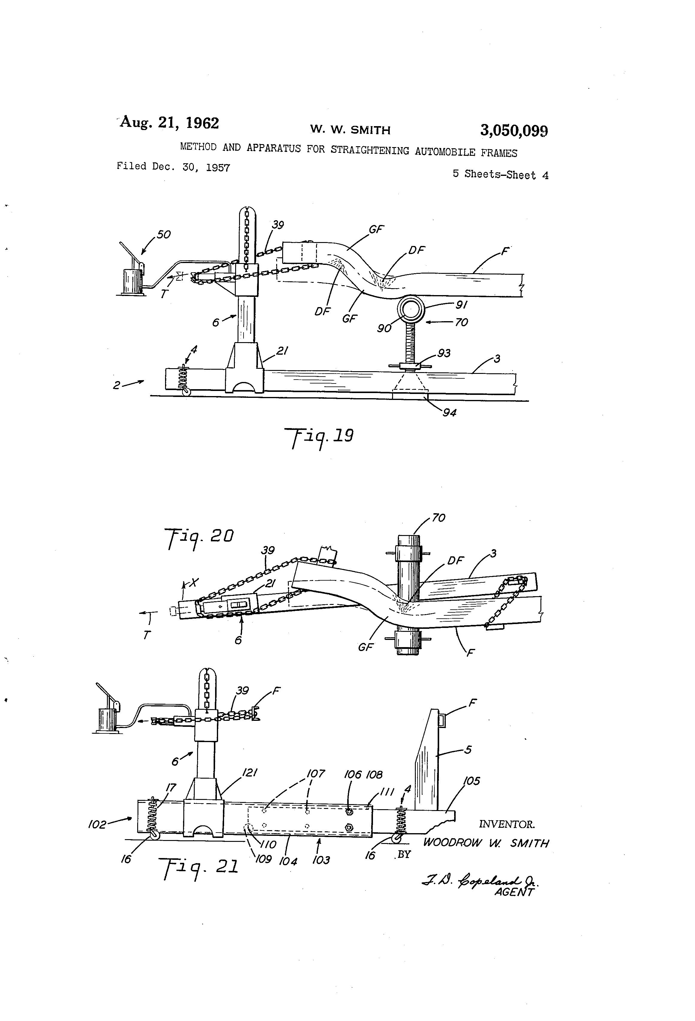 hight resolution of us3050099a method and apparatus for straightening automobile frames google patents