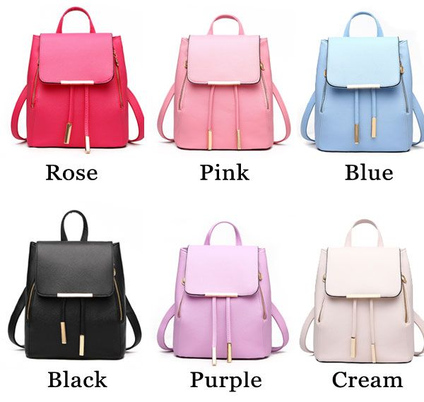 5278f7d328 Elegant Pink Funky Lady Solid Simple Square PU Drawstring Hasp Satchel  Backpack