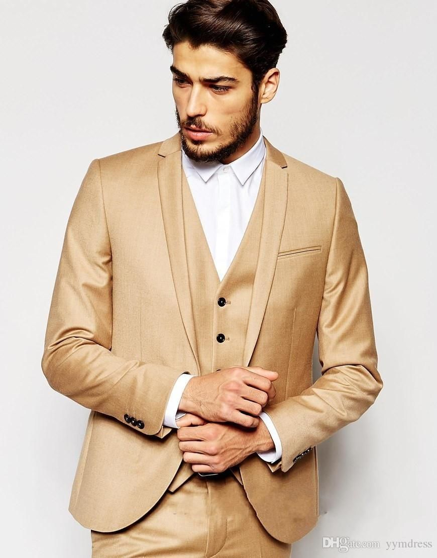 b90f816add24 Gold Wedding Tuxedos Handsome Slim Fit Mens Suits Groom Tuxedos Custom Made  Formal Prom Suits (