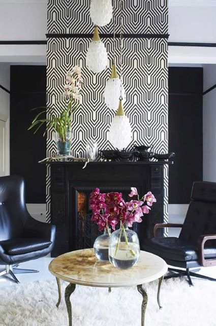 contemporary black and white wallpaper over fireplace | WALLPAPER | Accent walls in living room ...
