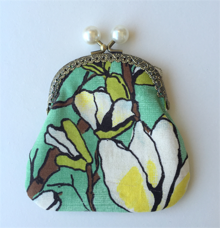 Coin Purse - magnolia print on green