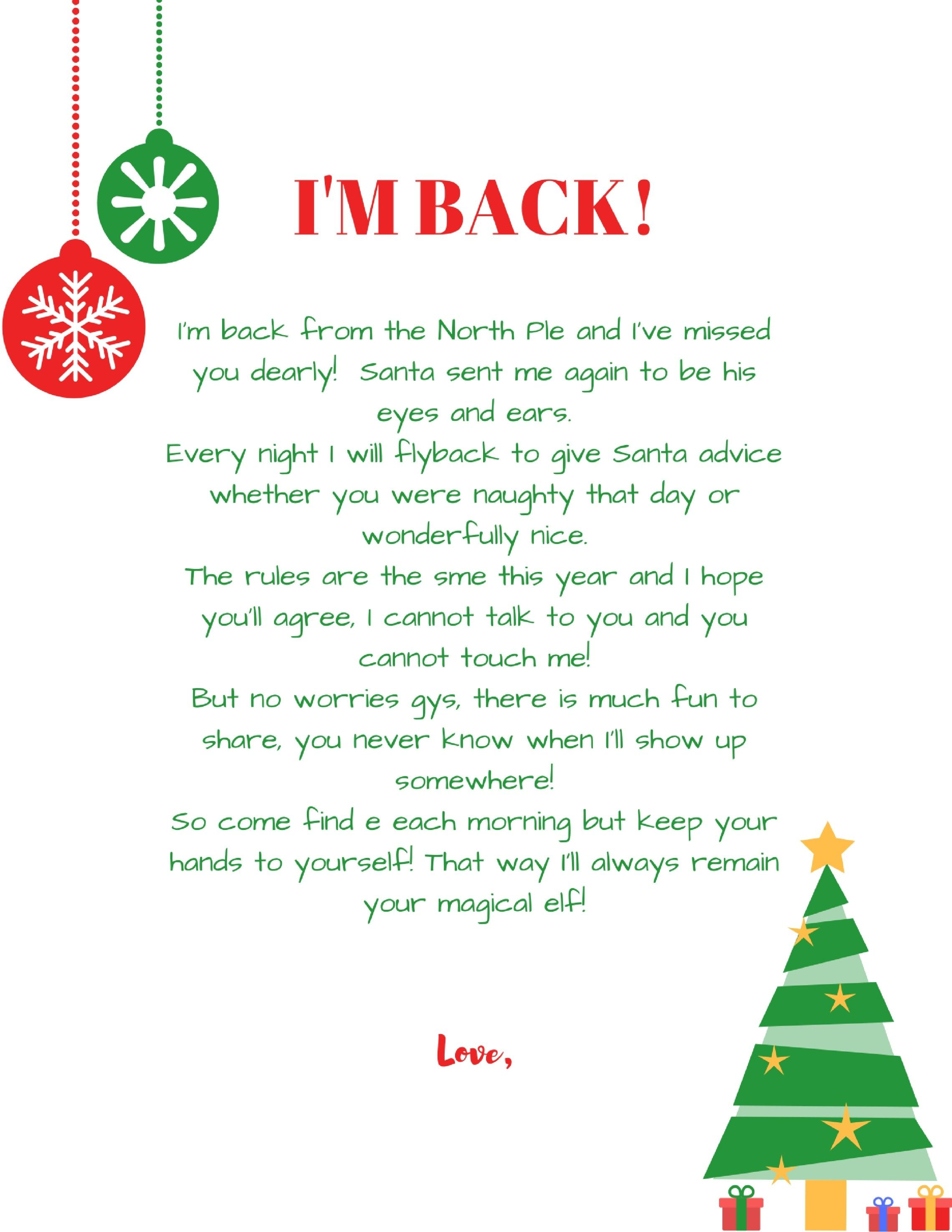 ImBackElfOnTheShelfArrivalLetterFreePrintable  Holiday