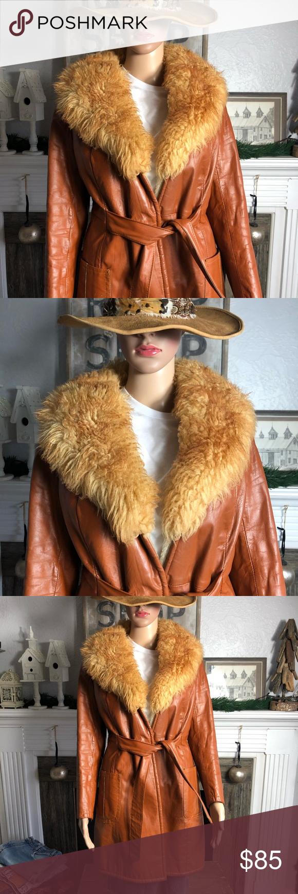 STUNNING Vintage Leather & Faux Fur Jacket High quality