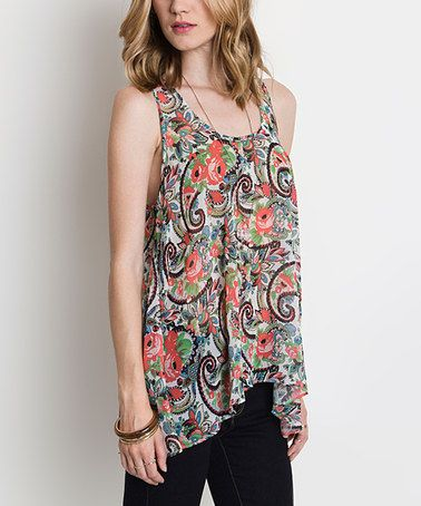 Another great find on #zulily! Coral & Navy Paisley Sleeveless Tunic - Women #zulilyfinds