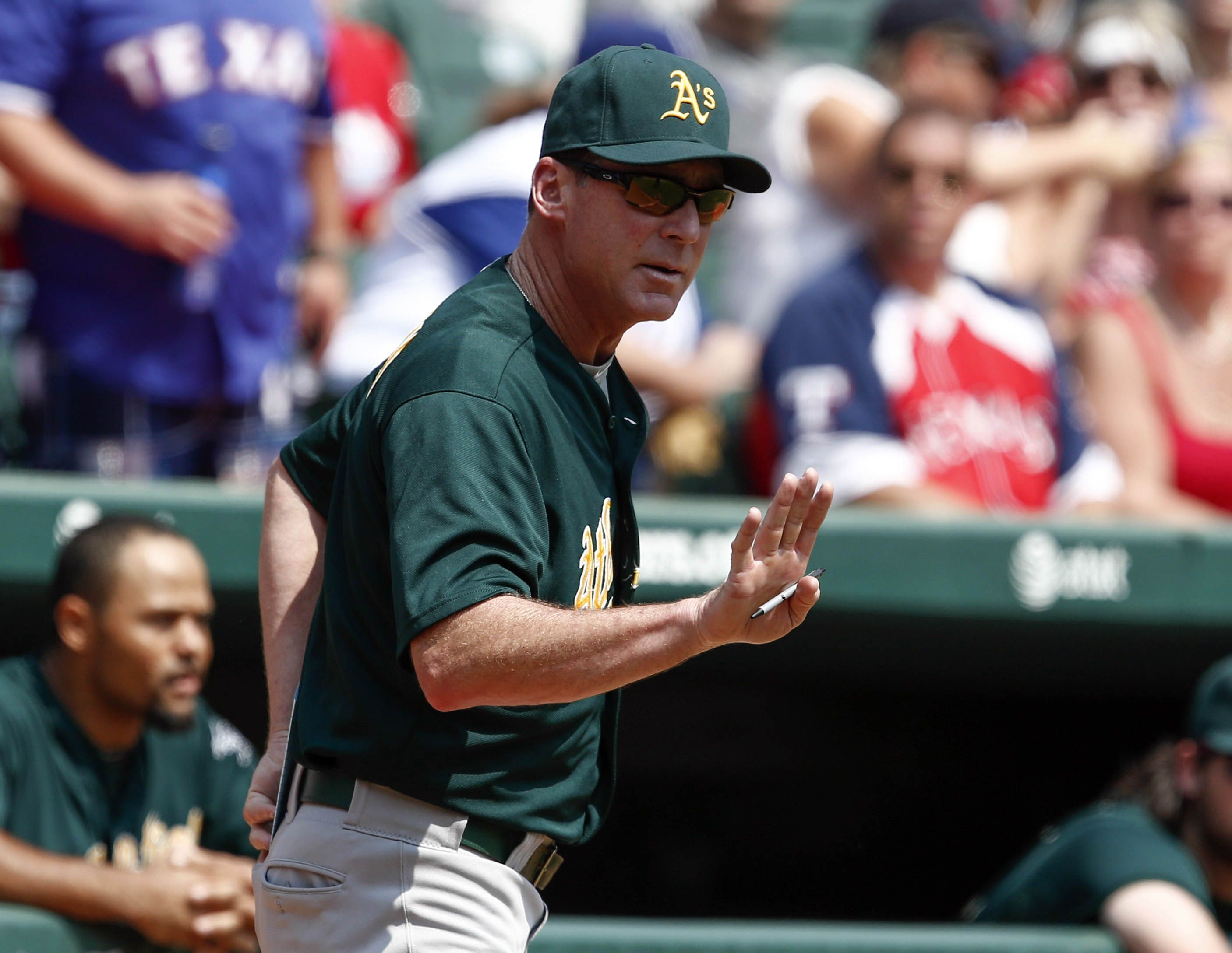 Crowdcam Hot Shot Oakland Athletics Manager Bob Melvin Motions To Umpire Joe West During The Game Against The Texas Ra Athlete Oakland Athletics Texas Rangers
