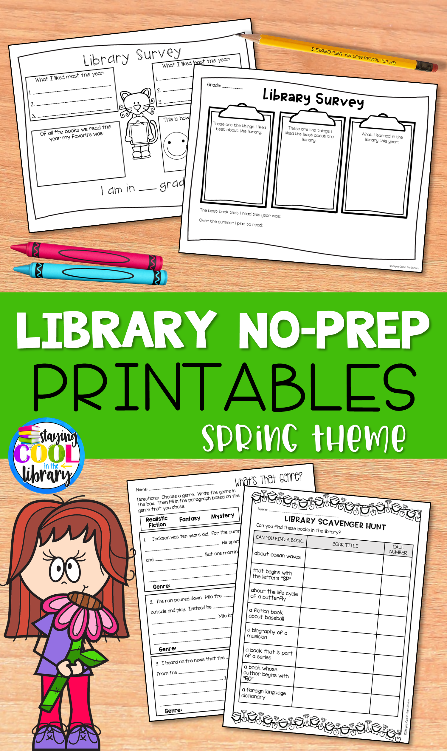 Library Skills No Prep Printables