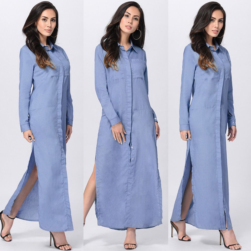 Women long sleeve denim jeans shirt maxi dress ladies blouse tshirt