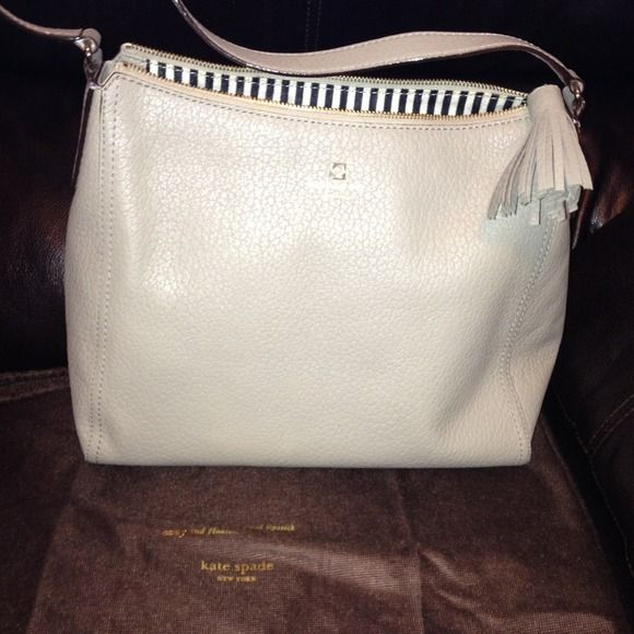 Kate Spade light grey hobo Authentic Kate Spade hobo style bag. Only carried twice. With dust bag for storage. In brand new condition. Genuine leather. kate spade Bags Hobos
