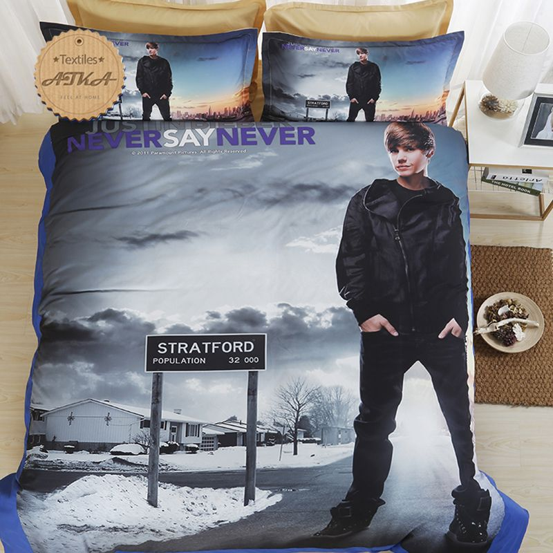 Interior Living Justin Bieber 3d Bedding Set Print Duvet Cover Set