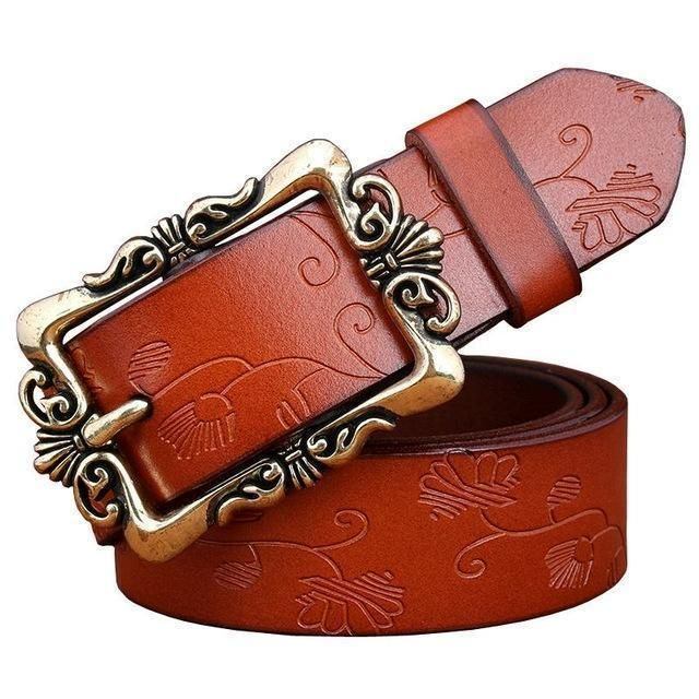 Women genuine Cow Leather Floral design Belt With Victorian