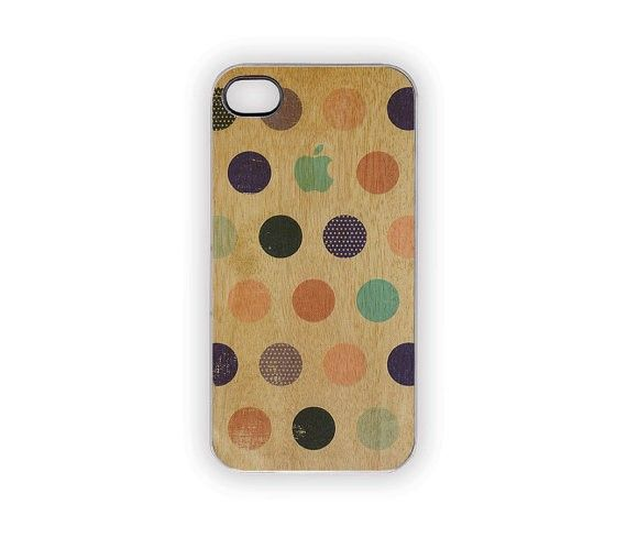Woody Polka Dots iPhone Case 5S 5 4S 4 Blue Shabby Chic Coral Green Pink Brown Wood Grain Look Circles Spots Vintage Autumn Fall