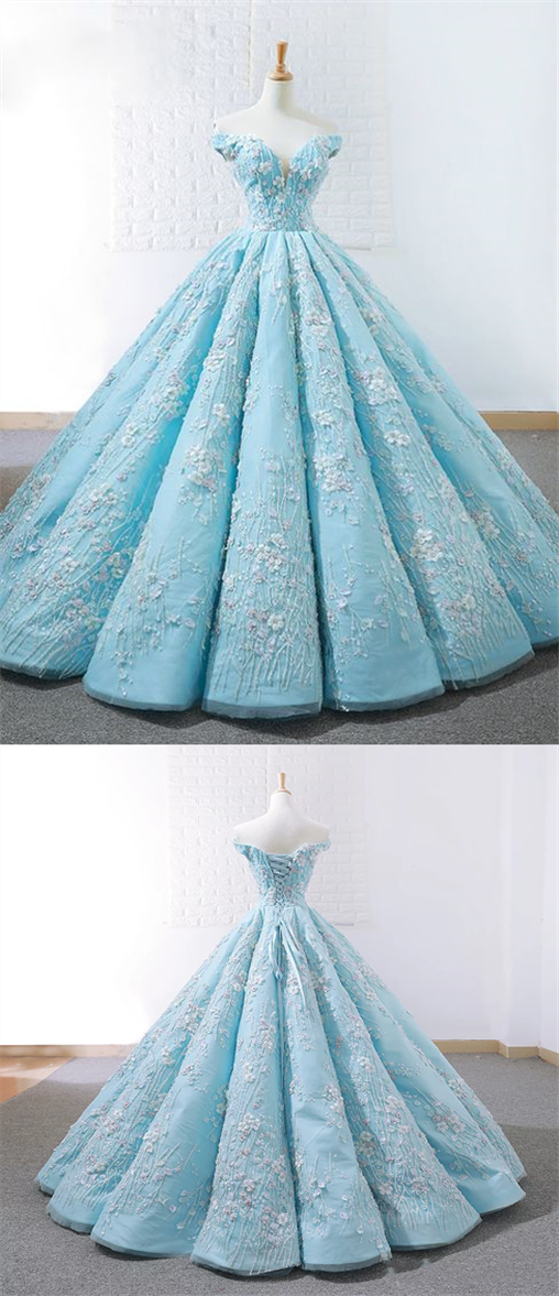 Elegant Blue Off Shoulder Lace Applique Prom Dresses Long Ball Gown