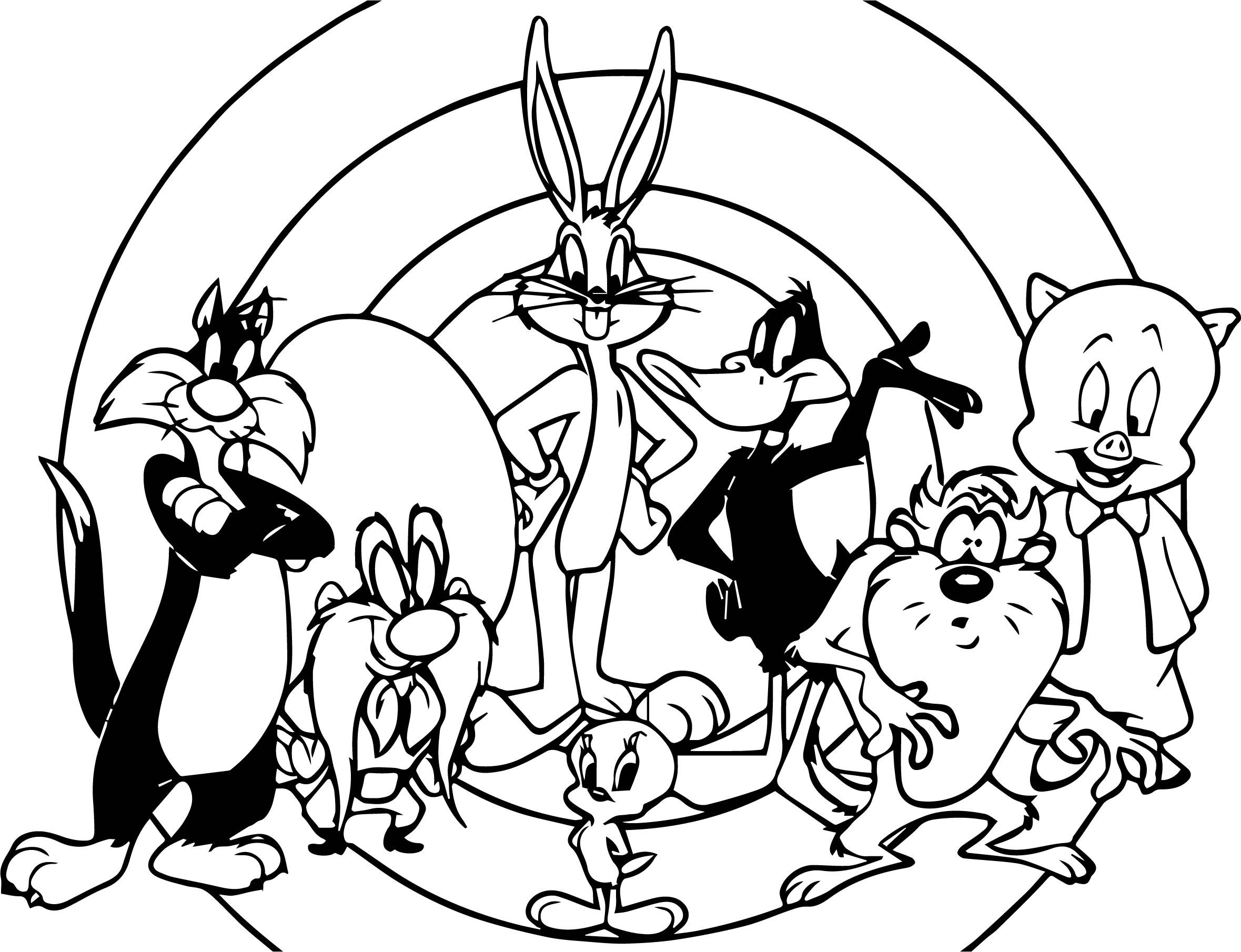 free looney tunes themed coloring pages | Looney Tunes All Characters Photo Coloring Page | Cartoon ...