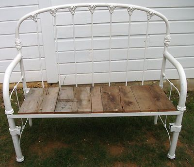 upcycled bench from iron bed
