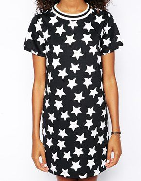 Enlarge ASOS T-Shirt Dress with Sporty Detail in Scuba Star Print