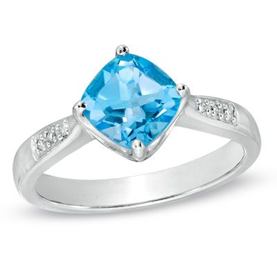 Zales 7.0mm Cushion-Cut Swiss Blue Topaz and Diamond Accent Ring in Sterling Silver DkJMarW6Od