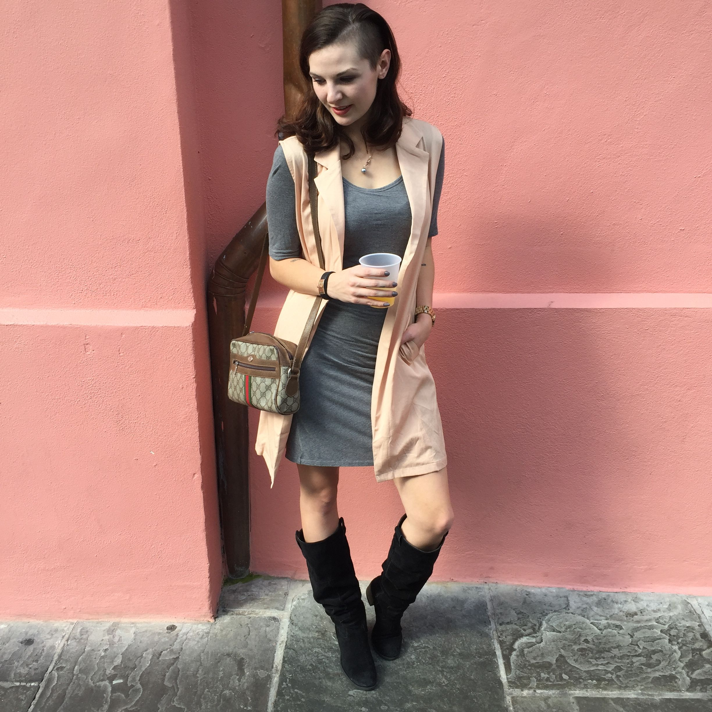 Suede Boots and the Sleeveless Trench