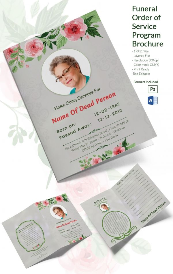 Funeral Ceremony Order of Service Brochure Word Template - picture templates for word