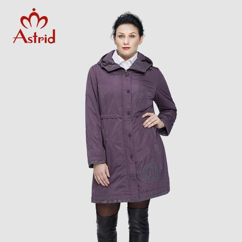 1a3b2542fe9 Astrid 2018 Women Trench Coat Women s Fashion Long Sleeve pattern  embroidery casual women down Hooded Plus Size freeship AS-9568.