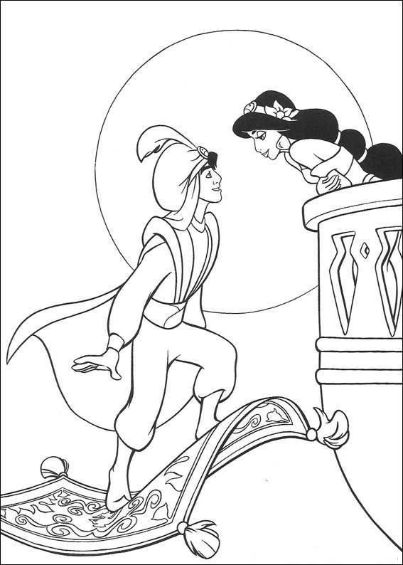 Kids N Fun Kleurplaat Aladdin Aladdin Prinses Kleurplaatjes Kleurplaten Gratis Kleurplaten