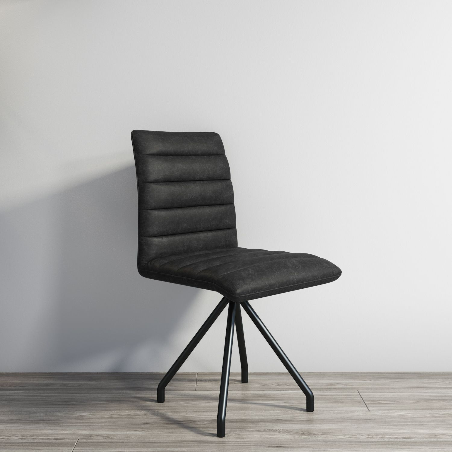 Fantastic New In Hayden Real Leather Black Dining Chair Industrial Ncnpc Chair Design For Home Ncnpcorg